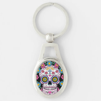 Dia de los Muertos Sugar Skull Silver-Colored Oval Key Ring