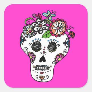 Dia de Los Muertos, Sugar Skull Stickers Square Sticker