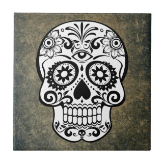 Dia De Los Muertos Sugar Skull Tile