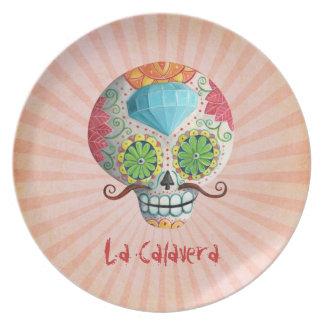 Dia de Los Muertos Sugar Skull with Mustaches Plate