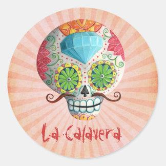 Dia de Los Muertos Sugar Skull with Mustaches Round Sticker