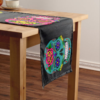 "Día de los Muertos Sugar Skulls Dark Trees 14X72"" Short Table Runner"