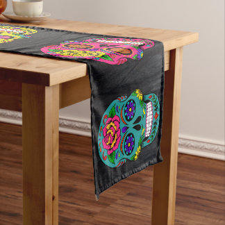 "Día de los Muertos Sugar Skulls Dark Trees 16X108"" Long Table Runner"