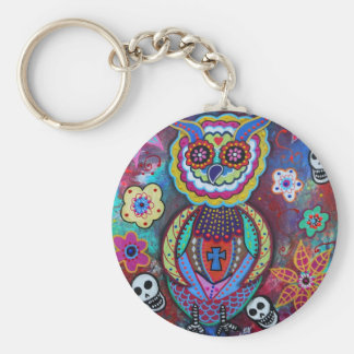 DIA DE LOS MUERTOS TALAVERA WISE OWL BASIC ROUND BUTTON KEY RING