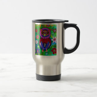 Dia de los Muertos talavera Wise Owl Travel Mug