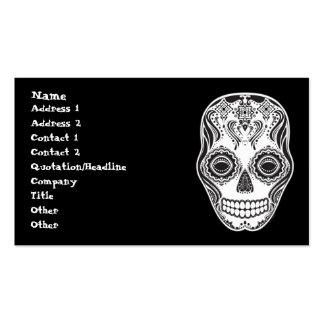 Dia de los Muertos That Girl Skull Diamond Pattern Business Card Template
