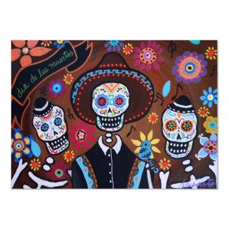 Dia de los Muertos Tres Amigos Mariachi Card