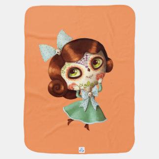 Dia de Los Muertos Vintage Doll Baby Blanket