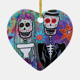 DIA DE LOS MUERTOS WEDDING CERAMIC HEART DECORATION
