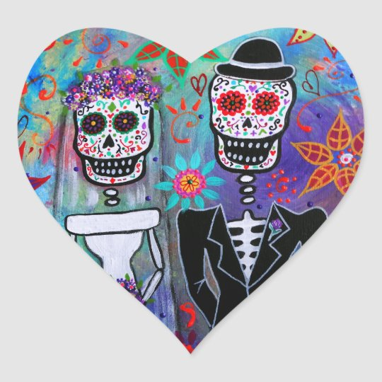 DIA DE LOS MUERTOS WEDDING HEART STICKER