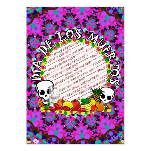 Dia De Los Muertos Wild Colors Photo Frame Business Card Template