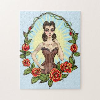 Día de Muertos Day of the Dead vintage tatto lady Jigsaw Puzzle