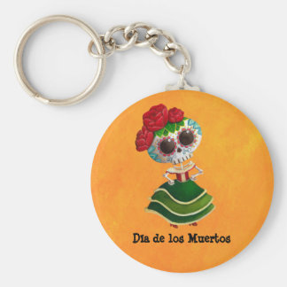 Dia de Muertos Mexican Miss Death Basic Round Button Key Ring