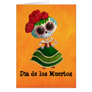 Dia de Muertos Mexican Miss Death Card