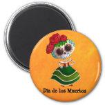 Dia de Muertos Mexican Miss Death Fridge Magnet