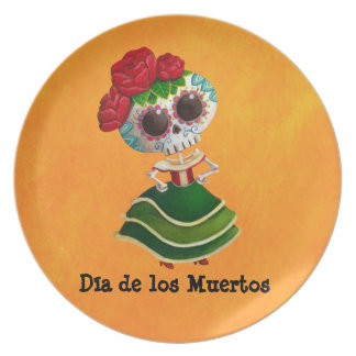Dia de Muertos Mexican Miss Death Plate