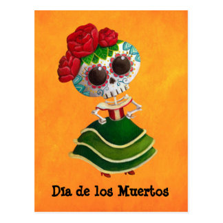 Dia de Muertos Mexican Miss Death Postcard