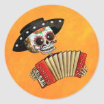 Dia de Muertos Skeleton Musician Classic Round Sticker