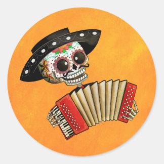 Dia de Muertos Skeleton Musician Round Sticker