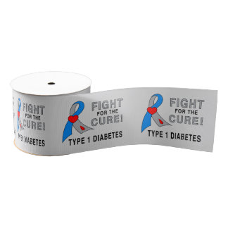 "Diabetes 1 Fight for the Cure 3"" Grosgrain Ribbon"