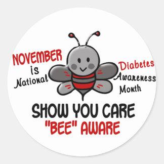 Diabetes Awareness Month Bee 1.1 Classic Round Sticker