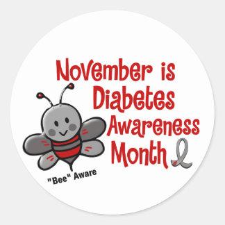 Diabetes Awareness Month Bee 1.3 Classic Round Sticker
