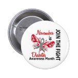 Diabetes Awareness Month Butterfly 3.1 6 Cm Round Badge