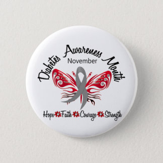 Diabetes Awareness Month Butterfly 3.2 6 Cm Round Badge