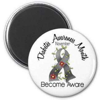 Diabetes Awareness Month Flower Ribbon 2 6 Cm Round Magnet