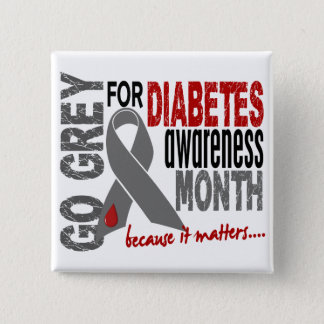Diabetes Awareness Month Grey Ribbon 1.4 15 Cm Square Badge