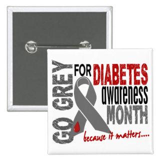 Diabetes Awareness Month Grey Ribbon 1.4 15 Cm Square Badge