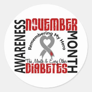 Diabetes Awareness Month Heart 1.4 Classic Round Sticker