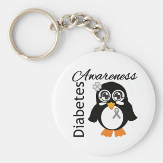 Diabetes Awareness Penguin Basic Round Button Key Ring