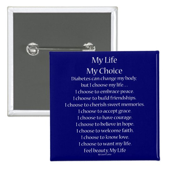 Diabetes Awareness Support My Life Poem Buttons