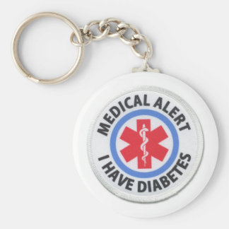 diabetes basic round button key ring