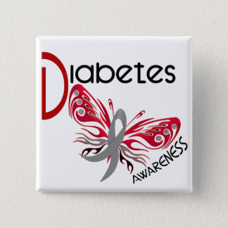 Diabetes BUTTERFLY 3 15 Cm Square Badge
