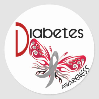 Diabetes BUTTERFLY 3 Classic Round Sticker