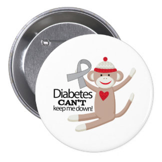 Diabetes Cant Keep Me Down Sock Monkey 7.5 Cm Round Badge