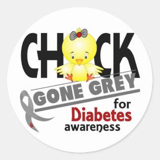 Diabetes Chick Gone Grey 2 Classic Round Sticker