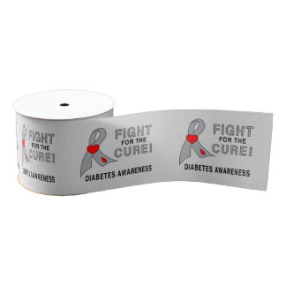 "Diabetes Fight for the Cure 3"" Grosgrain Ribbon"