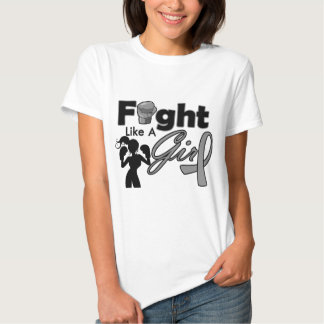 Diabetes Fight Like A Girl Silhouette Tee Shirts