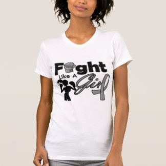 Diabetes Fight Like A Girl Silhouette T Shirts