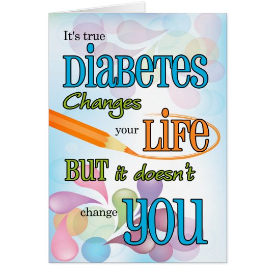 Diabetes Get Well Bright Colour Typography Card