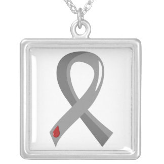 Diabetes Grey Ribbon 3 Silver Plated Necklace