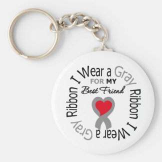 Diabetes I Wear Gray Ribbon For My  Best Friend Basic Round Button Key Ring