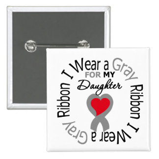 Diabetes I Wear Gray Ribbon For My Daughter 15 Cm Square Badge