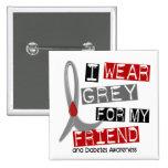 Diabetes I Wear Grey For My Friend 43 Buttons