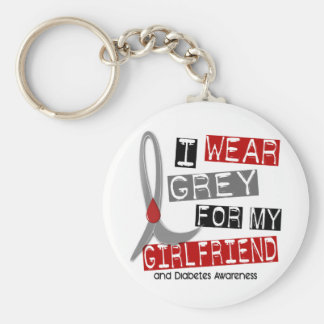 Diabetes I Wear Grey For My Girlfriend 37 Basic Round Button Key Ring