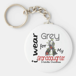 Diabetes I Wear Grey For My Granddaughter 43 Key Ring