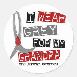 Diabetes I Wear Grey For My Grandpa 37 Classic Round Sticker